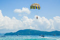 Parasailing on the beach Royalty Free Stock Photo