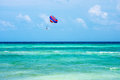 Parasailing in the caribbean near playa del carmon in mexico Stock Photo