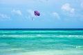 Parasailing in the caribbean near playa del carmon in mexico Stock Photo