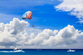 Parasailing in the caribbean sea Stock Images