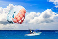 Parasailing in the caribbean sea Stock Photo