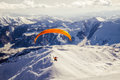 Parasailing in Gudauri Ski Resort, Georgia Royalty Free Stock Photo