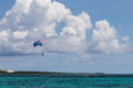 Parasailing off the coast of a caribbean island Royalty Free Stock Photography