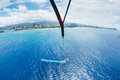 Parasailing over ocean in hawaii view from up the sky Stock Image