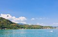 Parasailing over worthersee austria lake worth Stock Image
