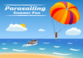 Parasailing summer kiting activity person is towed behind a boat Stock Photos