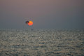 Parasailing at sunset in the indian ocean anjuna january Royalty Free Stock Photo