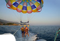 Parasailing two people at summer evening Royalty Free Stock Images