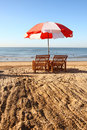 Parasol on beach Royalty Free Stock Photo