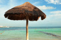 Parasol on caribbean beach of mexico Stock Image
