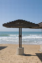 Parasols on a beach in haifa israel Royalty Free Stock Images