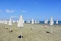 Parasols at the beach Royalty Free Stock Photo