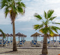 Parasols with deckchairs on the beach nerja spain Royalty Free Stock Images