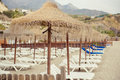 Parasols with deckchairs and empty on the nerja beach spain Royalty Free Stock Photography
