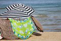 Parasols on sandy beach Royalty Free Stock Photography