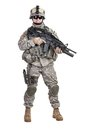 Paratrooper airborne infantry united states studio shot on white background Stock Images
