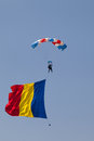 Paratrooper in the competition red bull smaranda order bucharest romania june romanian descending with his country s flag Stock Images
