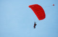 Paratrooper instructor with pupil in the sky under red dome Royalty Free Stock Photo