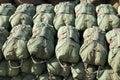 Paratrooper parachutes parachute bags pilled up Royalty Free Stock Photos