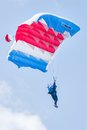 Paratrooper woman descends yalutorovsk russia may sport airdrome and trains in landing accuracy Royalty Free Stock Image