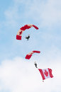 Paratroopers descent lookup shot of a paratrooper overflying Stock Image