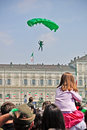 Paratroopers show in the Turin's sky Stock Photo