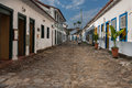 Paraty historical housing rio de janeiro the typical portuguese style colorful colonial houses on a stone street in the downtown Royalty Free Stock Photography