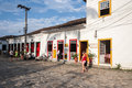 Paraty historical housing rio de janeiro the typical portuguese style colorful colonial houses on a stone street in the downtown Royalty Free Stock Photo