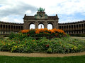 Parc du cinquantenaire park of the fiftieth anniversary, u shaped arcade, brussels,belgium Royalty Free Stock Photography