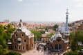 Parc Guell and Barcelona Aerial View Royalty Free Stock Photography