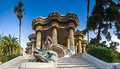 Parc guell barcelona magical public garden in designed and built by guadi and josep jujol in Stock Photo