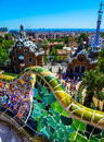 Parc guell barcelona the marvel of a public park that is antonio gaudi s in spain this was taken from the top terrace looking Royalty Free Stock Photo