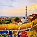 Parc guell in barcelona spain Royalty Free Stock Photography