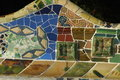Parc guell in barcelona spain long bunch with mosaic being designed by gaudi Royalty Free Stock Image