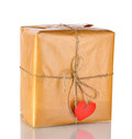 Parcel with blank heart-shaped label Royalty Free Stock Image