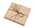 Parcel wrapped with brown kraft paper isolated on white background Stock Photo