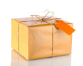 Parcel wrapped in brown paper Royalty Free Stock Photography