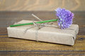 Parcel wrapped in brown paper and chive flower on wooden background Stock Image