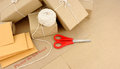 Parcels and packaging group of postal including envelopes Royalty Free Stock Images