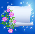 Parchment and flowers bubbles pink Royalty Free Stock Photo
