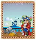 Parchment with pirate ship deck eps vector illustration Royalty Free Stock Photo