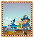 Parchment with pirate ship deck eps vector illustration Royalty Free Stock Photography