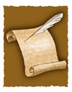 Parchment scroll and quill pen Stock Images