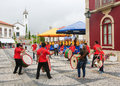 Paredes de coura in norte region portugal august folkloristic drum band the center of Stock Photo