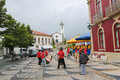 Paredes de coura in norte region portugal august folkloristic drum band the center of Royalty Free Stock Photos