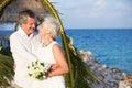 Pareja mayor que consigue casada en ceremonia de la playa Fotos de archivo libres de regalías