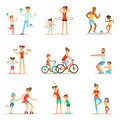 Parent And Child Doing Sportive Exercises And Sport Training Together Having Fun Set Of Scenes Royalty Free Stock Photo