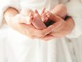 Parent holding in hands feet of newborn baby