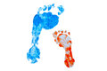 Parenthood colorful foot prints of child and adult concept isolated Stock Photo
