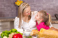 Parenthood mother and daughter having breakfast Stock Image